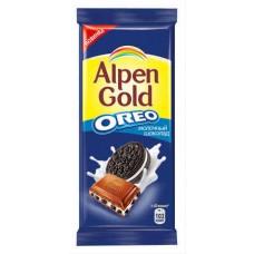 """Шоколад """"Alpen Gold Oreo """", молочный, с кусочками печенья."""